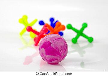 Ball and Jacks - Ball and Colored Jacks