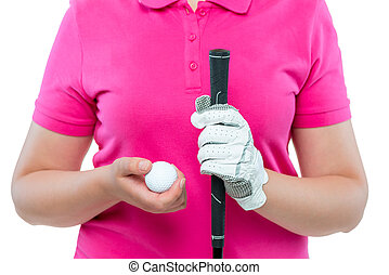 ball and putter in female hands for golf close-up
