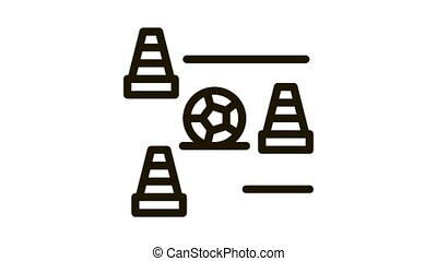 Ball And Training Cones Icon Animation. black Ball And Training Cones animated icon on white background