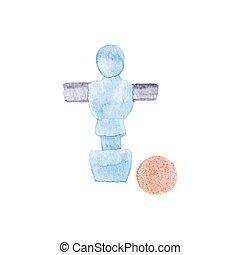 ball., aquarelle., foosball, jugador, objeto, acuarela, ...