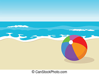 Vector illustration of colourful ball at the beach