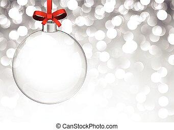 ball., bakgrund, jul, silver, glas