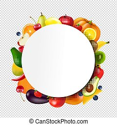 Ball Banner With Fruits And Vegetables Transparent background