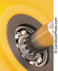 Ball Bearing Close-up - Ball bearing inside of wheel...
