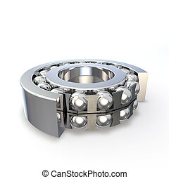 Ball bearing in the cut form. Isolated background. 3D render