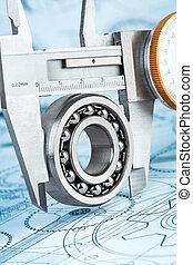 Ball bearings and Metal vernier caliper