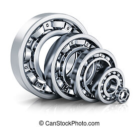 Ball bearings - Collection of different steel shiny ball...