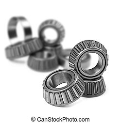 Ball bearings on a pure white background with space for text
