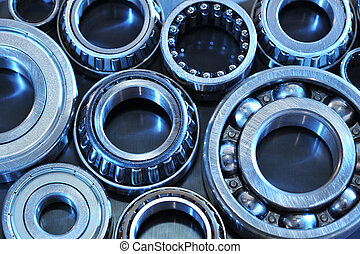 ball-bearings - closeup view of several ball-bearings in...