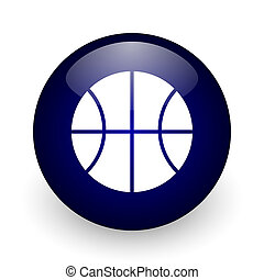 Ball blue glossy ball web icon on white background. Round 3d render button.