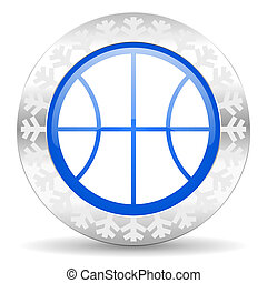 ball blue icon, christmas button, basketball sign