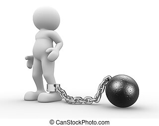 3d people - human character with ball chain- prisoner. 3d render illustration