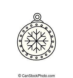 ball christmas decoration line style isolated icon