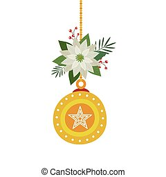 ball christmas hanging with flower isolated icon