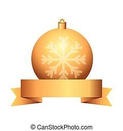 ball christmas with snowflake and ribbon