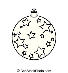 ball christmas with stars decoration line style icon