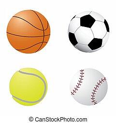 Ball collection. Sports equipment game balls football, basketball, tennis and baseball