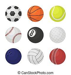 Ball collection. Sports equipment game balls football basketball tennis cricket billiards bowling volleyball symbols