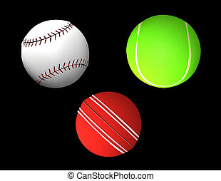 Ball collection - tennis-ball, cricket, baseball