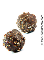 ball cookies - two ball chocolate cookies focus on front...