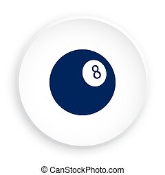 ball for billiard icon in neomorphism style for mobile app. Sport equipment. Button for mobile application or web. Vector on white background