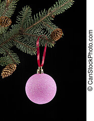 ball for Christmas with the branch of fir-tree on a black...