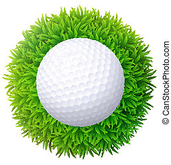 Ball for golf on green grass. Isolated on white background.