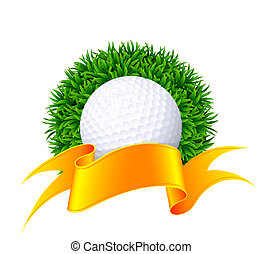 Ball for golf on green grass with gold ribbon.