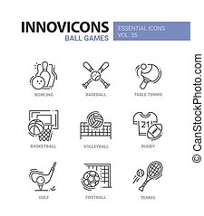 Ball Games - modern vector line design icons set. Bowling,...
