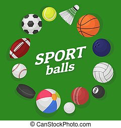 Ball games. Sports equipment collection balls soccer hockey baseball basketball billiard colorful banner cartoon