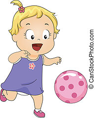 Illustration of a Baby Girl Happily Playing with a Pink Ball