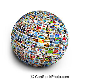 Ball, globe design element made of pictures of people, animals and places