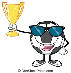 Ball Holding A Golden Trophy Cup
