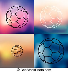 ball icon on blurred background