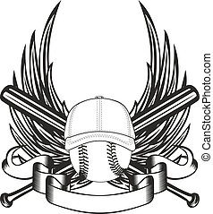 ball in baseball cap and wings - Vector illustration ball in...