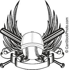 ball in baseball cap and wings