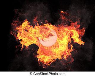 Ball in fire