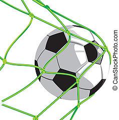 ball in goal - football - shot on goal, team sport,