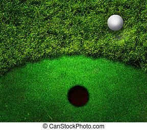 Ball in Grass Golf Background