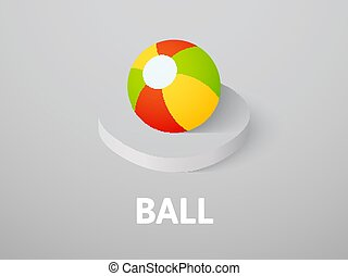 Ball isometric icon, isolated on color background