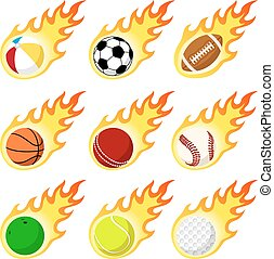Ball label flame sticker set flat style