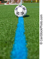 ball lying on artificial turf - ball lying on blue line on...