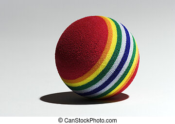 Ball - Multi-colored ball against a light background taken...