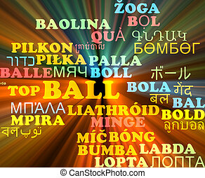 Ball multilanguage wordcloud background concept glowing