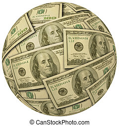 Ball of $100 bills - Ball or sphere of $100 bills