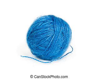 Ball of blue wool yarn