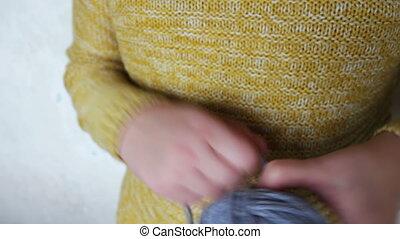 ball of grey wool yarn