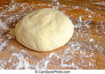Ball of homemade pizza dough - A fresh ball of homemade...