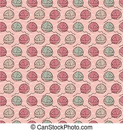 Ball of knitting yarn crafts seamless pattern