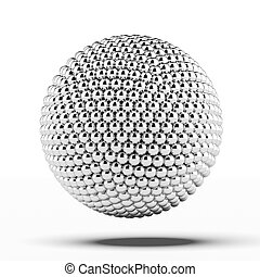 ball of metal spheres isolated on a white background